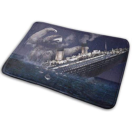 SESILY The Sloth Sank The Titanic Sandstrände Fußmatte Eingangsmatte Bodenmatte Teppich Badezimmer- / Schlafzimmermatten