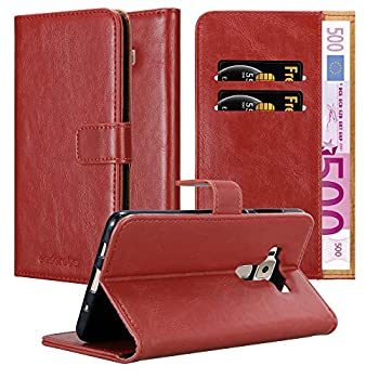 Cadorabo Book Case Compatible with Asus ZenFone 3 Deluxe in Wine RED - with Magnetic Closure Stand Function and Card Slot - Wallet Etui Cover Pouch PU Leather Flip