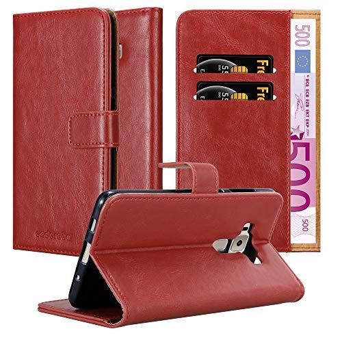 Cadorabo Hülle für Asus ZenFone 3 Deluxe - Hülle in Wein ROT – Handyhülle im Luxury Design mit Kartenfach & Standfunktion - Case Cover Schutzhülle Etui Tasche Book