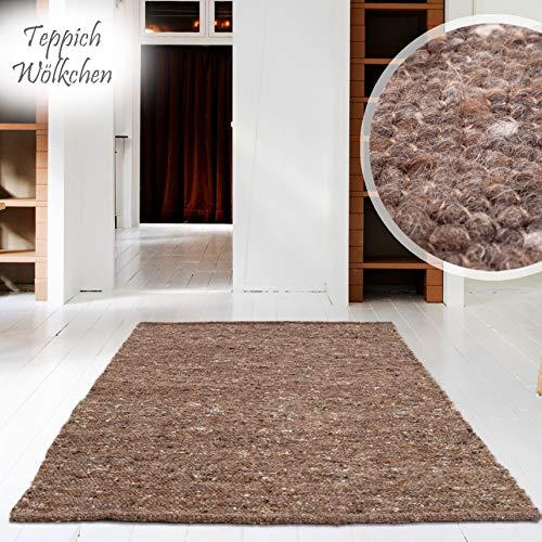 Hand-Web-Teppich | Reine Schur-Wolle im Skandinavischen Design | Wohnzimmer Esszimmer Schlafzimmer Flur Läufer | Grau Beige (Oslo Braun - 60 x 90 cm)