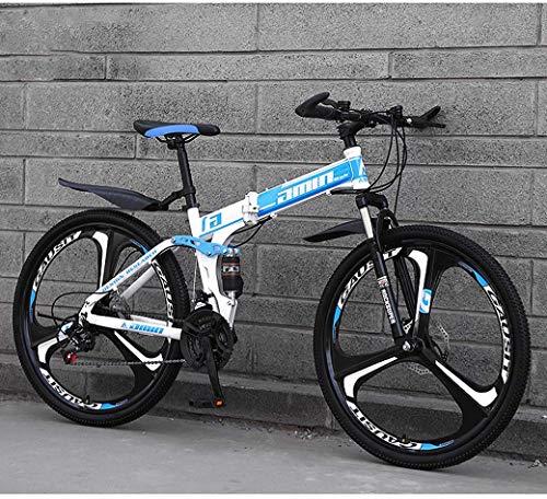 Mnjin Bicicletas Plegables de Bicicleta de montaña, Freno Doble de Disco de 24 Pulgadas y 26 Pulgadas, suspensión Completa Antideslizante, Cuadro de Aluminio Ligero, Horquilla de suspensión
