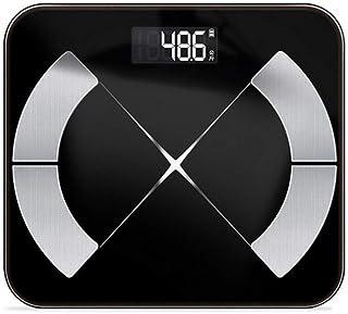 UYZ Báscula de Grasa Corporal Profesional Ciencia del Suelo Báscula de Peso Digital electrónica Inteligente Báscula de Peso Aplicación Bluetooth Analizador de Salud Duradero (Color: Negro)