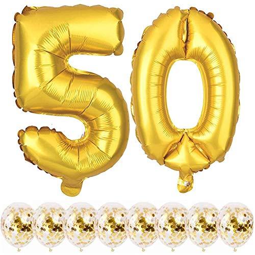 Youngneer - Palloncino da donna, 50 anni, 50 anni, colore: oro con numeri giganti (101 cm) e 8 coriandoli dorati, per 50° buon compleanno, festa, decorazione