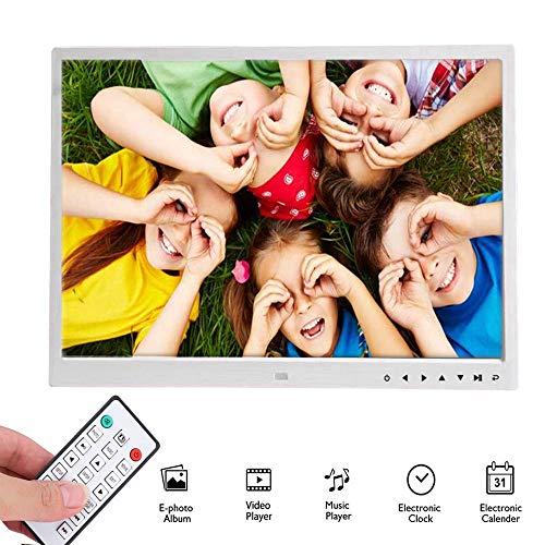 Digitaler Bilderrahmen, Tragbarer 110V-240V 17 Zoll-HDMI-HD-Movie-Player 1709T, Touchscreen-Player Elektronischer Fotorahmen für Uhr, Musik, Video und Kalender mit Fernbedienung(Weiß, EU-Stecker)