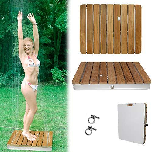 @tec Gartendusche Aussendusche aus massivem Teak-Holz, Mobile Bodendusche Campingdusche, Sauna- & Pool-Dusche mit Bodenplatte für den Garten, Outdoor...