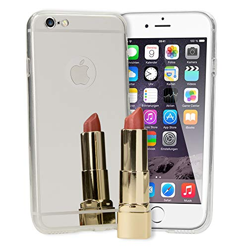 NALIA Spiegel Hülle kompatibel mit iPhone 6 6S, Ultra-Slim Mirror Case Cover Silikon Schutzhülle, Dünne Handyhülle Backcover verspiegelt, Handy-Tasche Bumper Skin Smart-Phone Etui, Farbe:Silber