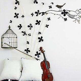 Walplus Negro de flores en 3d pegatinas de pared removible adhesivo mural arte Adhesivos Vinilo decoración del hogar bricolaje Salón Dormitorio Decoración Pared habitación de los niños regalo, 9x 9cm