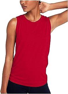 FONMA Women Cute Yoga Workout Mesh Shirts Activewear Sexy Open Back Sports Tank Tops