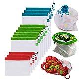 Awinker Lot de 12 Sacs Réutilisables de Course pour Fruits et Légumes en Coton Lavable