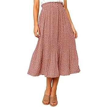 Exlura Womens High Waist Polka Dot Pleated Skirt Midi Maxi Swing Skirts with Pockets Pink