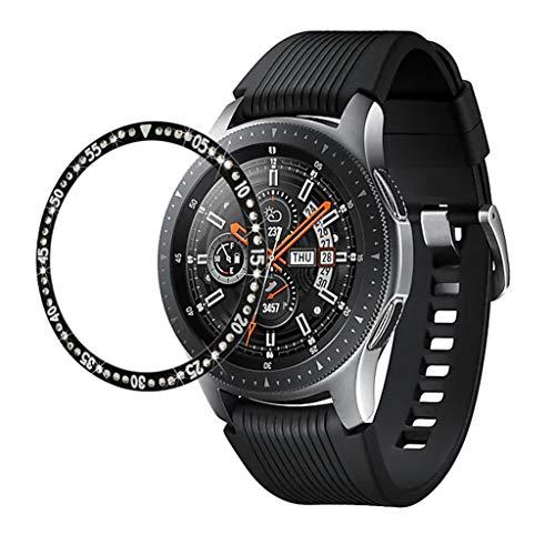Rostfreier Stahl Lünettenring Kompatibel mit Samsung Galaxy Watch 42MM /Galaxy Watch Active/ Gear Sport/ Gear S2 Lünettenabdeckung mit Strasskristall für Frauen Damen Anti Scratch Klebstoffabdeckung