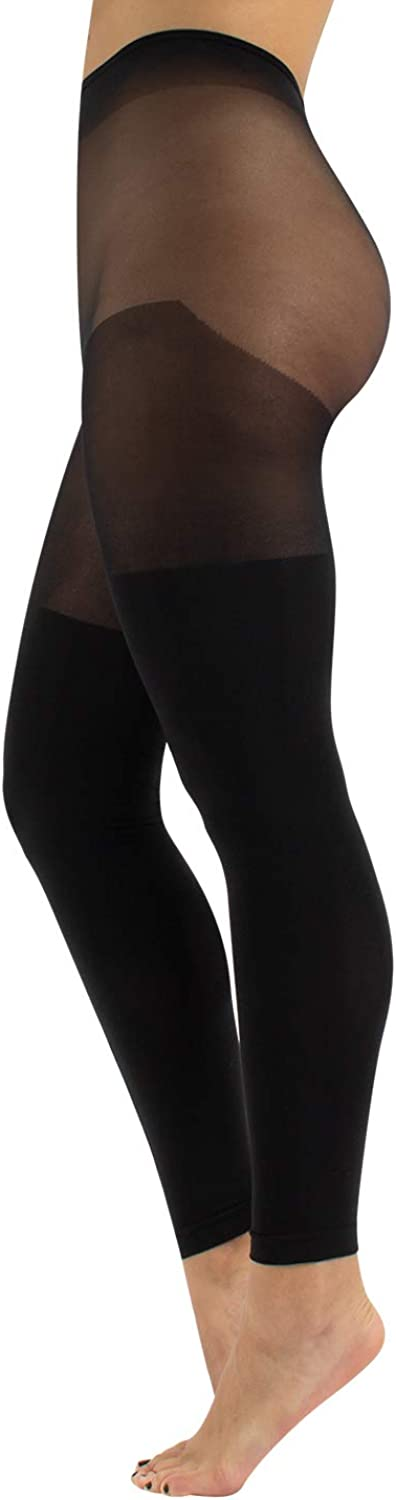 CALZITALY Curvy Plus Size Footless Tights | XL, 2XL, 3XL, 4XL | Black | 100 DEN | Made in Italy