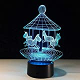 Luz de noche pequeña Diapositiva 3D reemplazo de regalo de cumpleaños para niños Decoración de Halloween avión de iluminación Dormitorio7 lámpara de mesa que cambia de color lámpara de carrusel