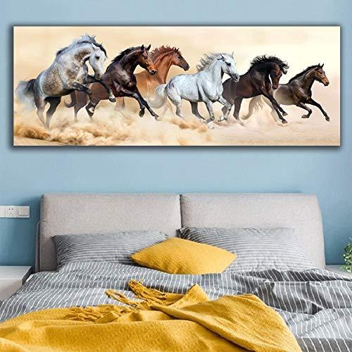 KWzEQ Leinwanddrucke Laufendes Pferd für Wohnzimmerplakat und Wanddekor60x140cmRahmenlose Malerei