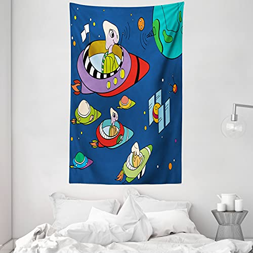 ABAKUHAUS Außerirdischer Wandteppich & Tagesdecke, Skurril Weltraum-Entwurf, aus Weiches Mikrofaser Stoff Dreck abweichender Digitaldruck, 140 x 230 cm, Nachtblau Multicolor
