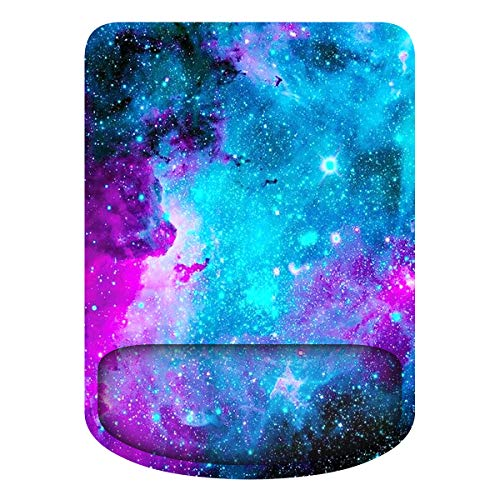 WINTOJO Ergonomic Mouse Pad with Wrist Rest Support Comfortable Gaming Mouse Pad Pain Relief Mousepad with Non-Slip Base for Computer Laptop & Mac, Home,Office & Travel Galaxy (SMP-06)