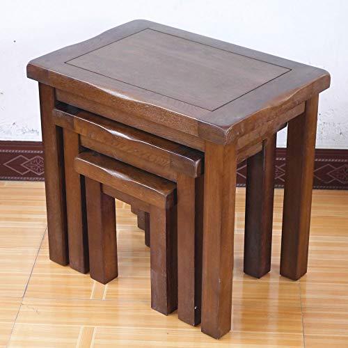 Beistelltisch-Set aus 3 Beistelltischen, Nussbaumholz, Eiche massiv, Retro-Stil, Beistelltische, Lampe, Beistelltisch, Beistelltisch