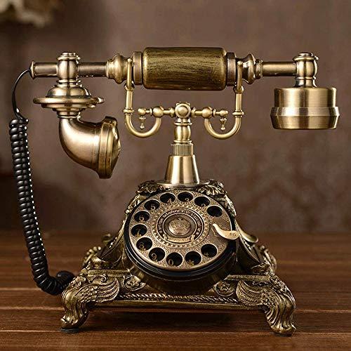 Kaidanwang Retro Teléfono Antiguo de época Rotatorio de la Vendimia Retro del dial de teléfono Tradicional con la Placa giratoria Funcional y Campanas Metal clásico, Resina y Metal Cuerpo de teléfono