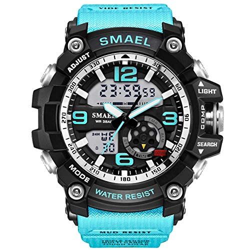 KXAITO Men's Watches Sports Outdoor Waterproof Military Watch Date Multi Function Tactics LED Alarm Stopwatch (05_Turquoise)