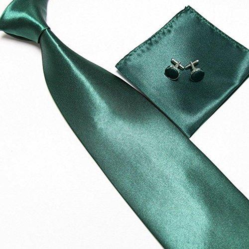 Cravate + Pochette + Bouton de Manchettes Satinée - Emeraude- Neuf