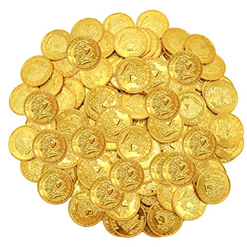 jojofuny 100 Stks Plastic Spelen Munten Gouden Piraat Schat Munten Speelgoed Gouden Munten Rekwisieten Voor Kinderen Volwassen Games Party Gunst