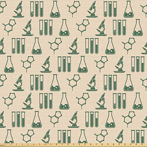 ABAKUHAUS Laboratorium Stof per strekkende meter, Farmaceutische Analyse van Geneesmiddelen, Stretch Gebreide Stof voor Kleding Naaien en Kunstnijverheid, 1 m, Hunter-groen en beige