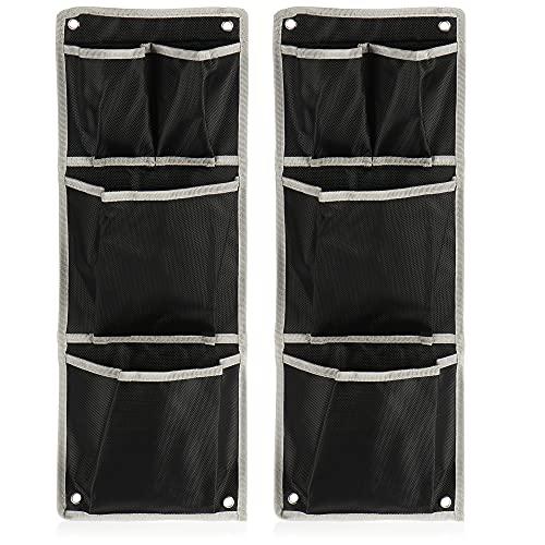com-four® 2X Rangement Suspendu - Organisateur Suspendu Pratique - Rangement pour Armoire, Porte et Mur - Étagère Suspendue pour Tente, Camping-Car, Salle de Bain (02 pièces - Noir/Gris)