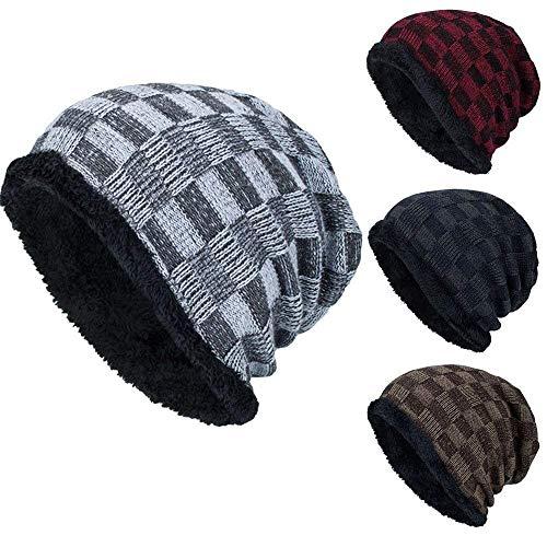 Hombres Boina Tejida Crochet Invierno Beanie Hombres Beret Cap Hombres Cálido Baggy Mode De Marca Beanie Gorras Sombrero (Color : Plaid Grau, Size : One Size)