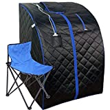 BIONOURISHED Portable Infrared Home Sauna | One Person Spa | with Heating Foot Pad and Portable Chair