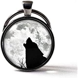Llavero de Lobo y Luna, Llavero de Lobo, Colgante de Luna Gris, Llavero de Luna Completa, Joyería de Luna.