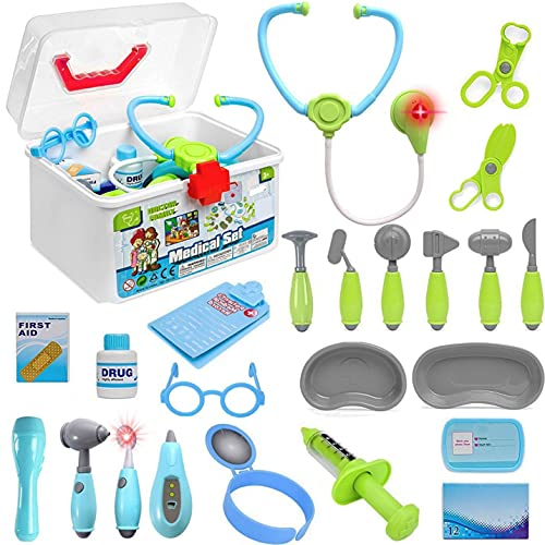 24 PCS Deluxe Kids Doctor Kit - Pretend Role Play Toy Set with Medical Carrying Case, Electronic Stethoscope and Accessories