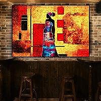 キャンバス塗装 ぶら下げ画 ヴィンテージアフリカの女性の抽象的な風景キャンバスアートポスター絵画と版画アートウォールピクチャーリビングルームのための (Size (Inch) : 40x60cm)