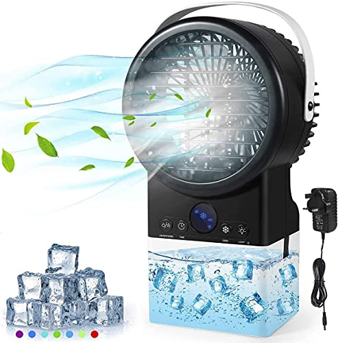 Portable Air Conditioner, Timer 3 Speeds Medium Evaporative Fan Cooler, Personal Space Air Cooler Desk Fan, Humidifier Misting Cooling Table Fan with 7 Colors Lights Handle Design for Home Office