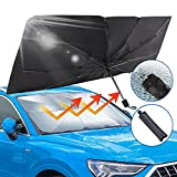 UVANTI Car Windshield Sunshade Umbrella with Escape Safety Hammer, Folding Car Sun Shade Parasol Umbrella, 57'x31' (Updated Version)