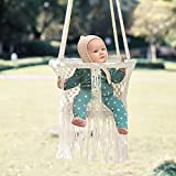 FUNNY SUPPLY Hanging Swing Seat,White Weave Infant Swing Seat Chair, Hammock Chair for Infant to Toddler,Children's Indoor Playroom Nursery Decor
