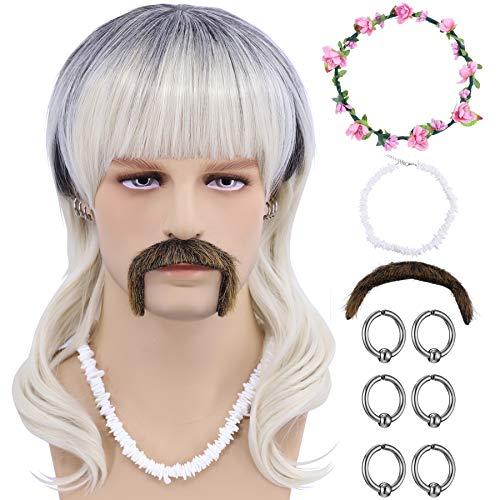 Cfalaicos Tiger King Joe Exotic Costume Wig (Wig + Pink Flower Headband + 6 Earrings + Mustache + Necklace)