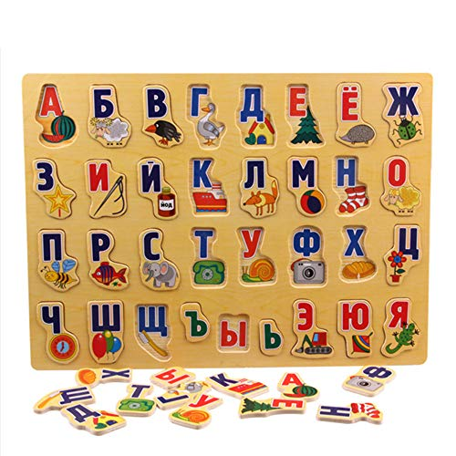 Language Wood Puzzle Toys Adult Russian Alphabet Puzzles Toys Children Alphabet Grasp Board Russian Letter Educational Developing Toy