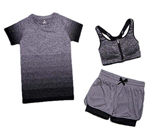 Black Temptation Chemises à survêtement Femme Pantalons 3 pièces Set Fitness Workout Sport Wear