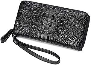 BHYUFF Women's Purse Luxury Crocodile Prints Wallet Women Clutch Female Artificial Leather Wristlets With Strap Black Black