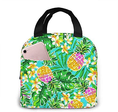 Bolsa de almuerzo Bolsa de asas Trippy Fiambrera reutilizable Impermeable para hombres / mujeres Viajes de trabajo-Serie forestal Fruta tropical Piña