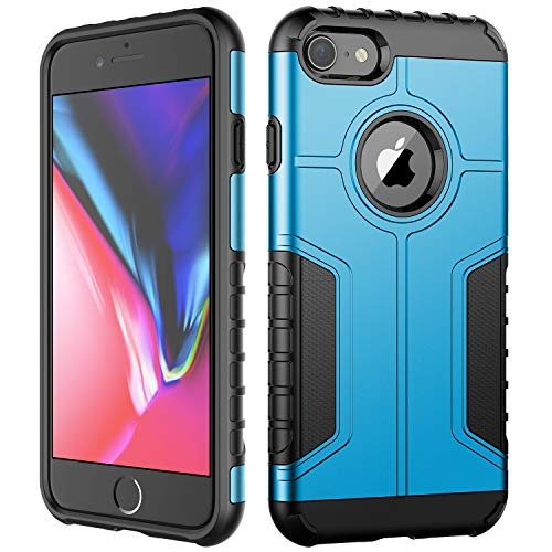 JETech Case for Apple iPhone 8 and iPhone 7, Dual Layer Protective Cover with Shock-Absorption, Blue