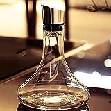 Decantador de vino de vino de cráneo y gafas Set Juego de jarra de vidrio, con tapa de acero inoxidable, 1800 ml de gran capacidad, para hotel en el hotel. Diseño transparente Botella de vidrio única