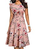 YATHON Women's Vintage Ruffle Floral Flared A Line Swing Casual Cocktail Party Dresses (L, YT001-Pink Floral 01)
