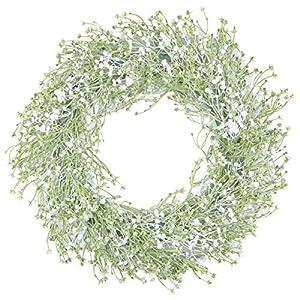 Pauwer Baby's Breath Wreath Farmhouse Artificial Gypsophila Flower Wreaths for Front Door Decorative Welcome Door Wreath for Wall Window Wedding Party