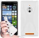 Cadorabo Hülle für Nokia Lumia 830 - Hülle in Magnesium WEIß – Handyhülle aus flexiblem TPU Silikon im X-Line Design - Silikonhülle Schutzhülle Soft Back Cover Hülle Bumper