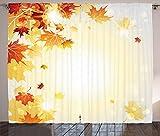 ABAKUHAUS Otoño Cortinas, Flying Hojas de Arce, Sala de Estar Dormitorio Cortinas Ventana Set de Dos Paños, 280 x 175 cm, Pálida Mostaza Naranja Oscuro