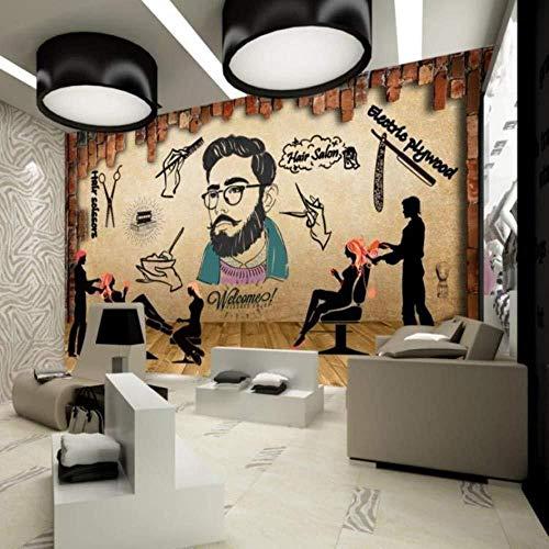 YBHNB Mural 3D Hair Salon Pinturas Personalizado Estilo Retro Peluquería Wallpaper Decorado Salón Papel De Pared De Fondo Peluquería Papel-400X280Cm