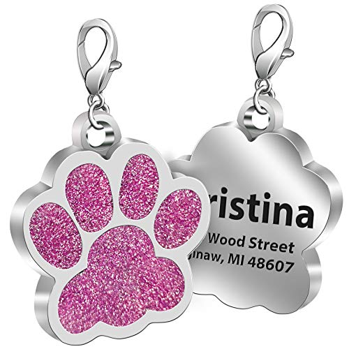 TedYoho Custom Pet ID Tag Glitter Paw Personalized Laser Engraving Name on Stainless Steel Pink Rosy Blue Gold Gift for Small Medium Large Dogs Cats (Pink)
