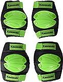 Kawasaki KX100495-Ginocchiere con Gomitiere per Bambini, Verde, M