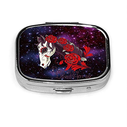 Daily Pill Organizer Universe Galaxy Day Horse Square Box Case Compact 2 Compartment Vitamins Tablet Holder Container Metal Portable for Daily Needs Travel Purse Pocket